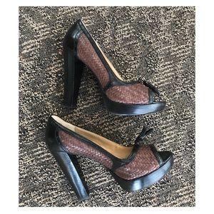 MICHAEL Michael Kors peep toe leather pumps heels